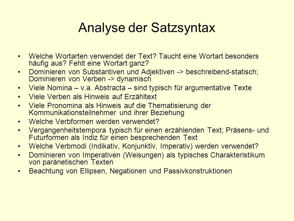 Analyse der Satzsyntax