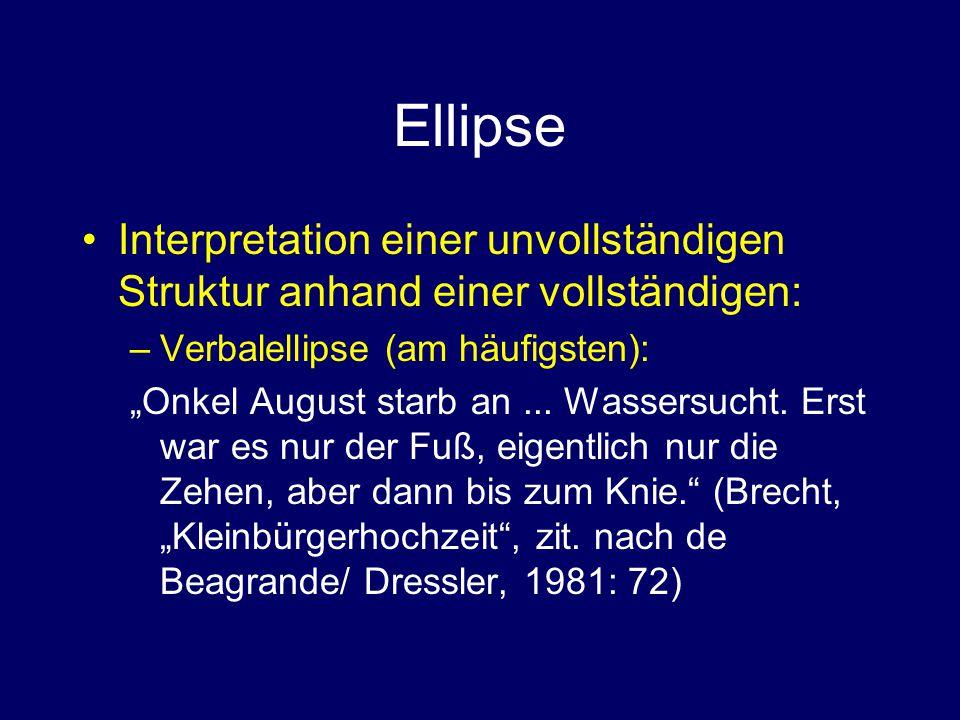 Ellipse Interpretation einer unvollständigen Struktur anhand einer vollständigen: Verbalellipse (am häufigsten):