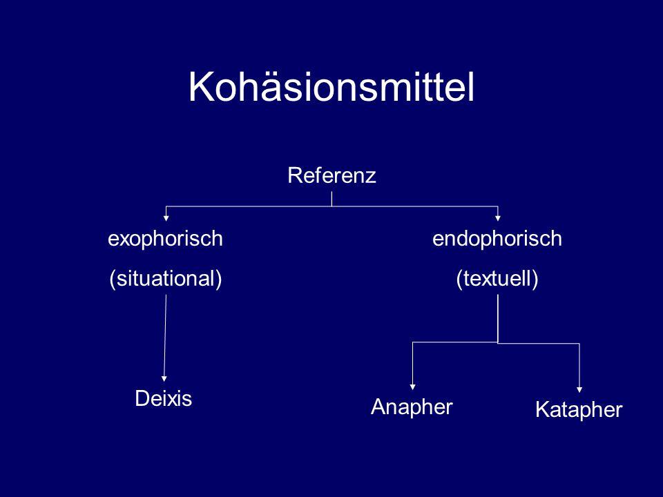 Kohäsionsmittel Referenz exophorisch (situational) endophorisch