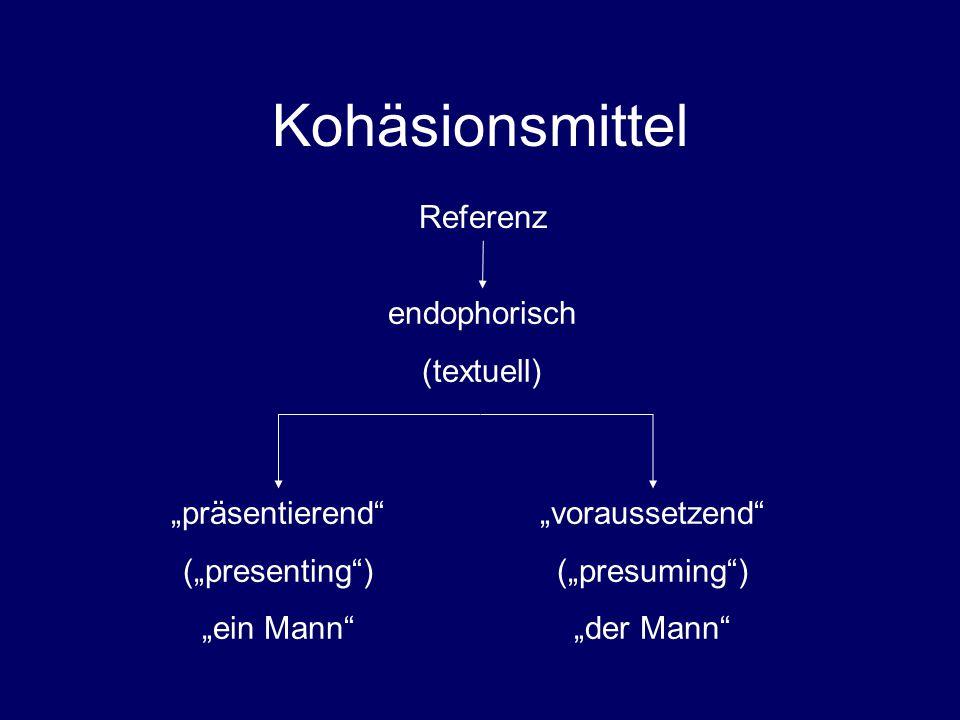 """Kohäsionsmittel Referenz endophorisch (textuell) """"präsentierend"""