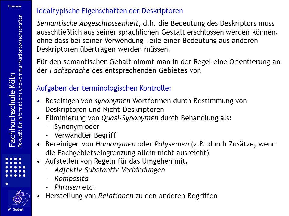 Fachhochschule Köln Idealtypische Eigenschaften der Deskriptoren
