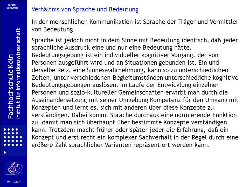 Fachhochschule Köln Verhältnis von Sprache und Bedeutung
