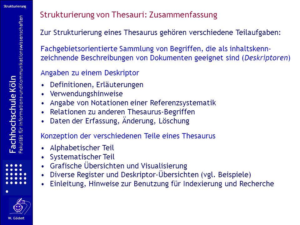 Strukturierung von Thesauri: Zusammenfassung