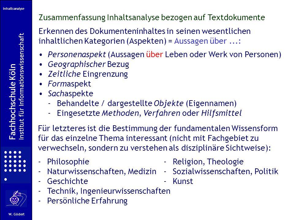 Zusammenfassung Inhaltsanalyse bezogen auf Textdokumente
