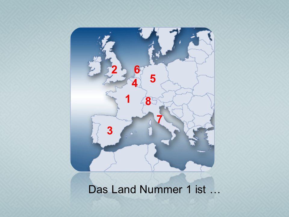 2 6 5 4 1 8 7 3 Das Land Nummer 1 ist …