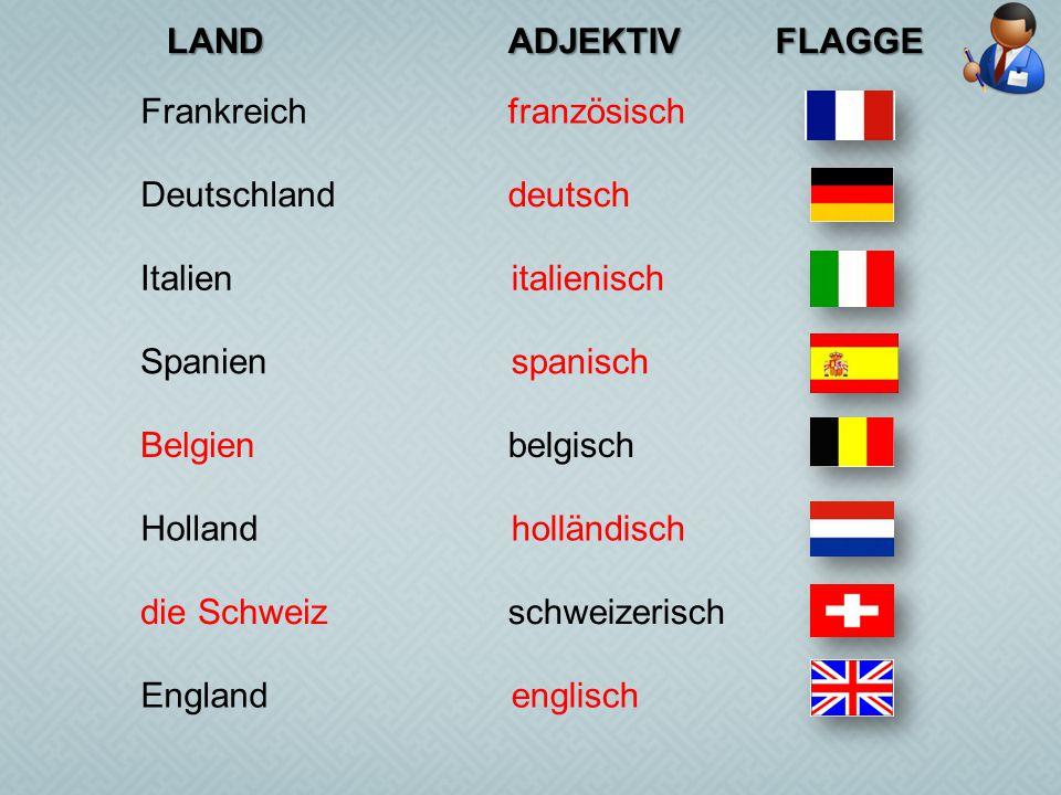 LAND ADJEKTIV. FLAGGE. Frankreich. französisch. Deutschland. deutsch. Italien. italienisch. Spanien.
