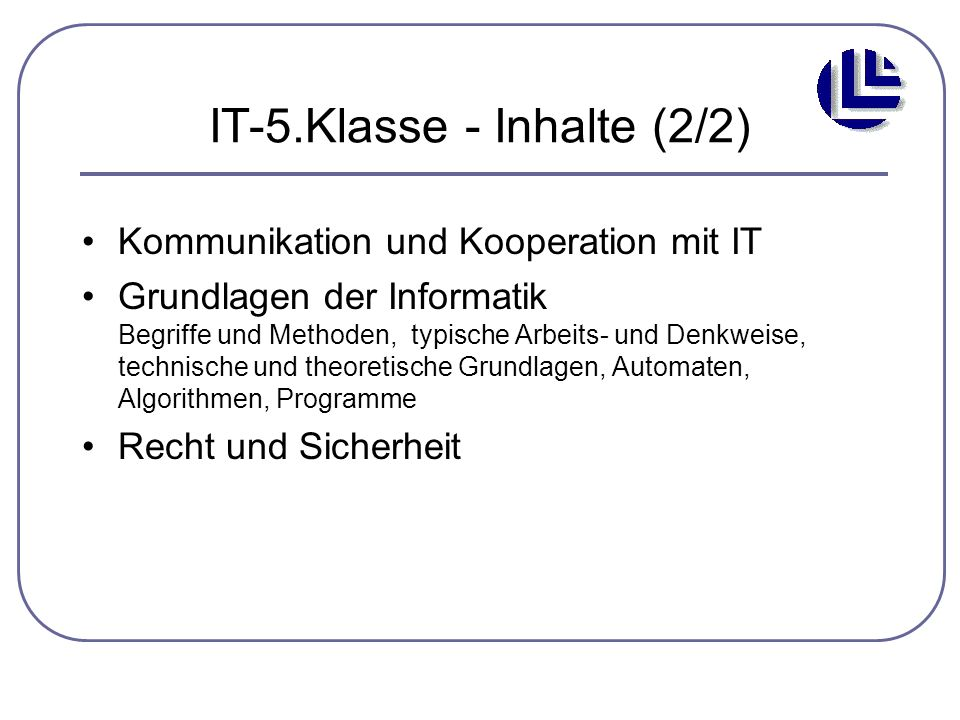 IT-5.Klasse - Inhalte (2/2)