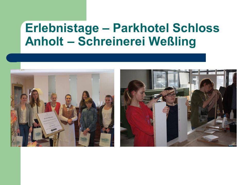 Erlebnistage – Parkhotel Schloss Anholt – Schreinerei Weßling