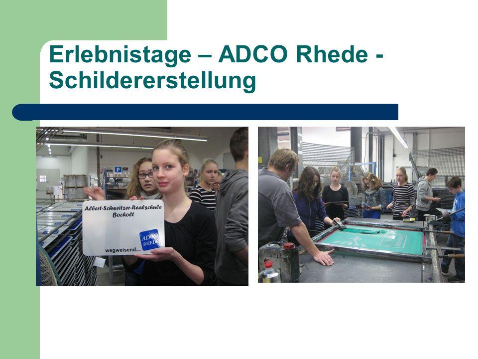 Erlebnistage – ADCO Rhede - Schildererstellung