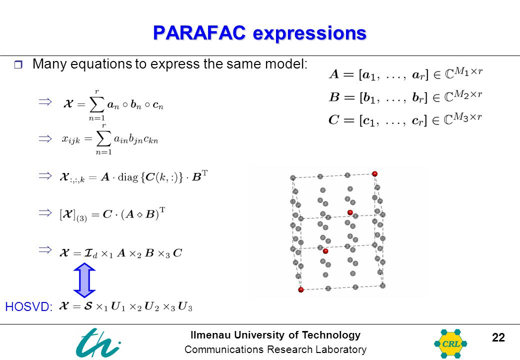 PARAFAC expressions Many equations to express the same model: HOSVD:
