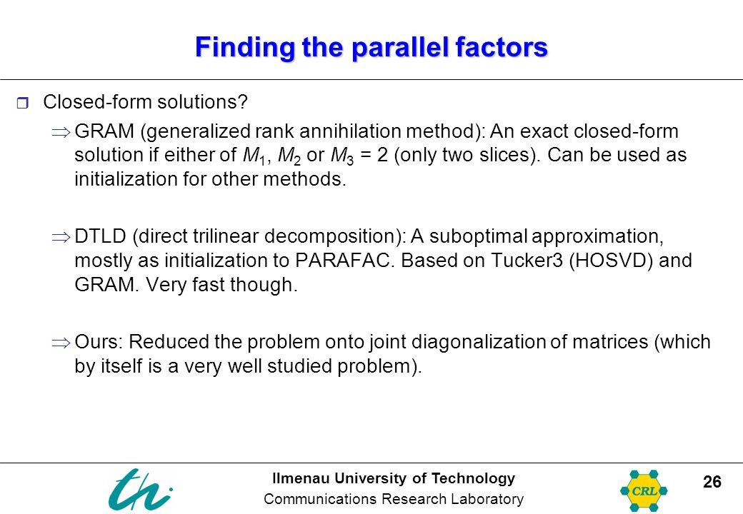 Finding the parallel factors