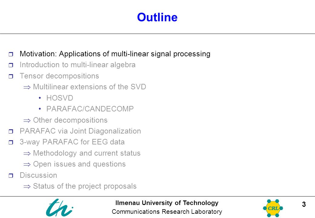 Outline Motivation: Applications of multi-linear signal processing