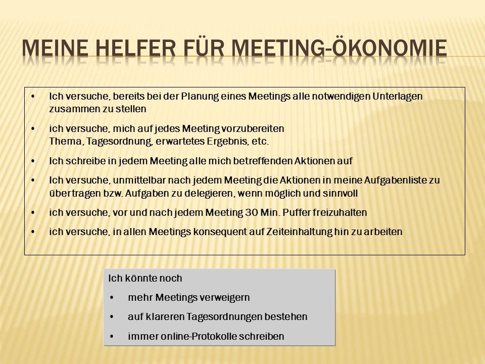 Meine Helfer für Meeting-Ökonomie
