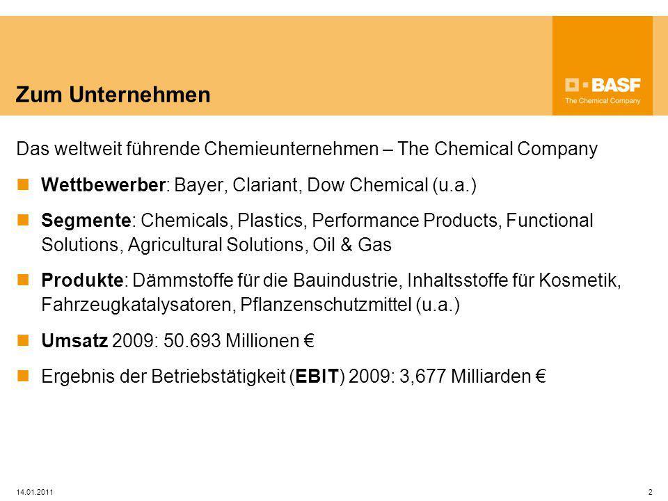 Zum Unternehmen Das weltweit führende Chemieunternehmen – The Chemical Company. Wettbewerber: Bayer, Clariant, Dow Chemical (u.a.)