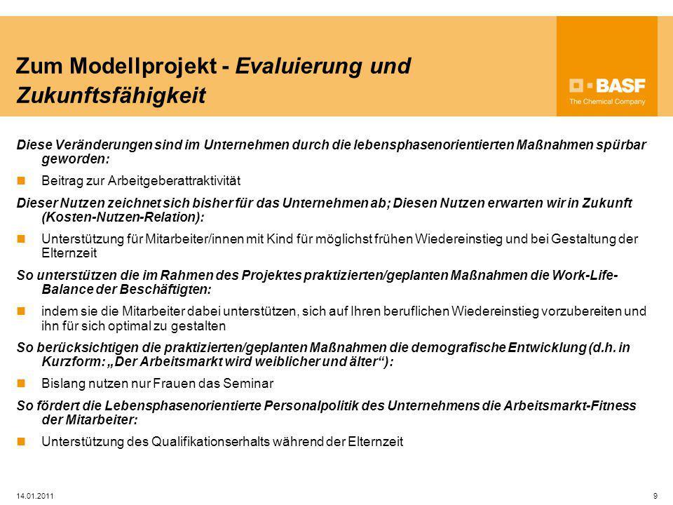 Zum Modellprojekt - Evaluierung und Zukunftsfähigkeit