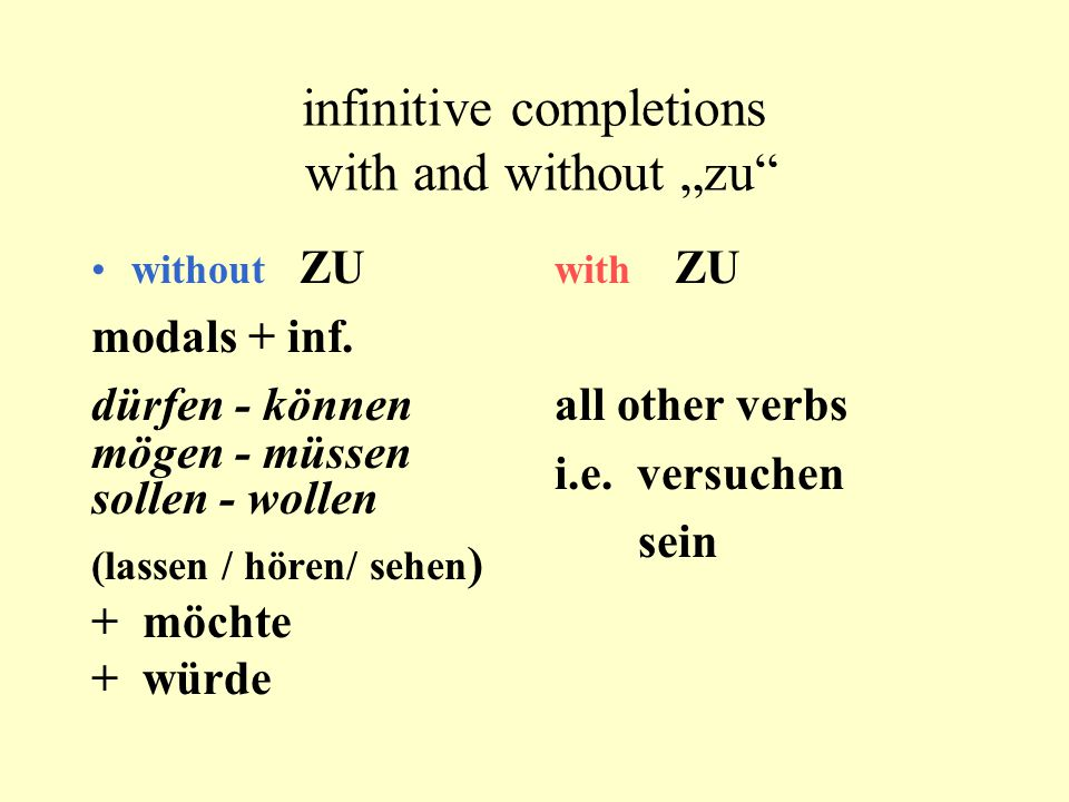 "infinitive completions with and without ""zu"