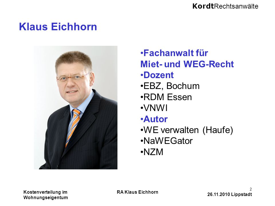 Klaus Eichhorn Fachanwalt für Miet- und WEG-Recht Dozent EBZ, Bochum