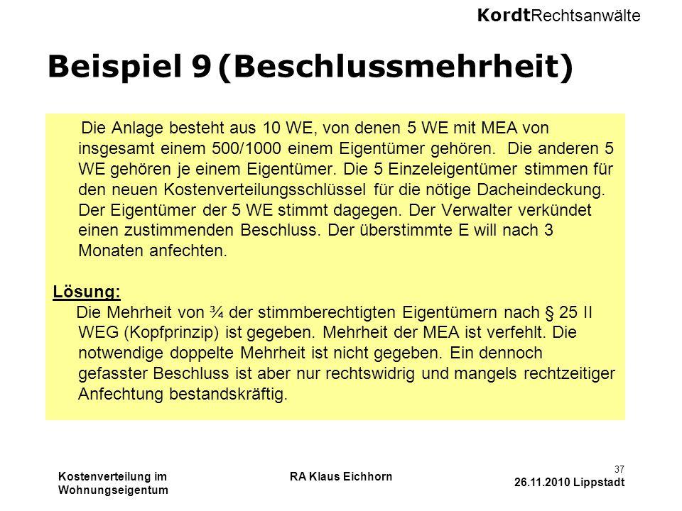 Beispiel 9 (Beschlussmehrheit)