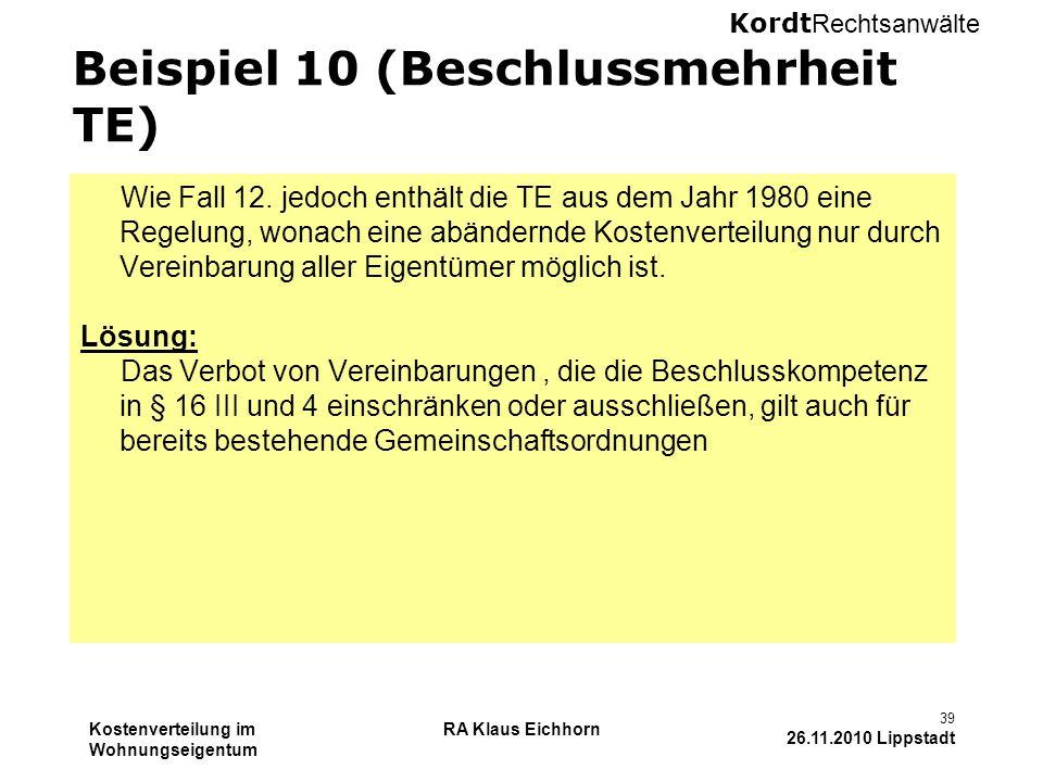 Beispiel 10 (Beschlussmehrheit TE)