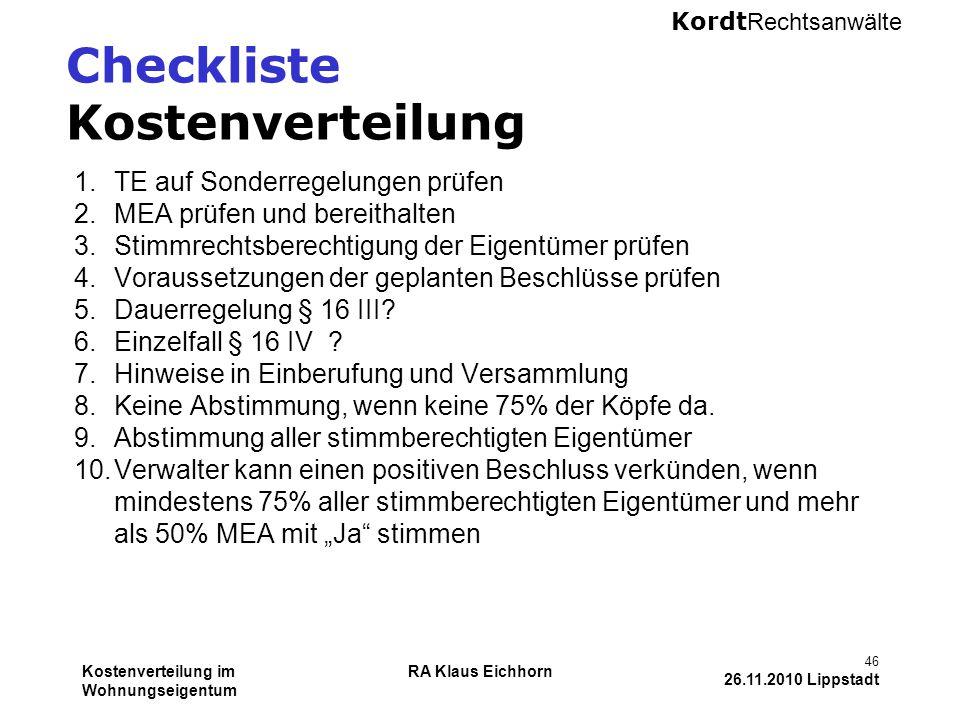 Checkliste Kostenverteilung