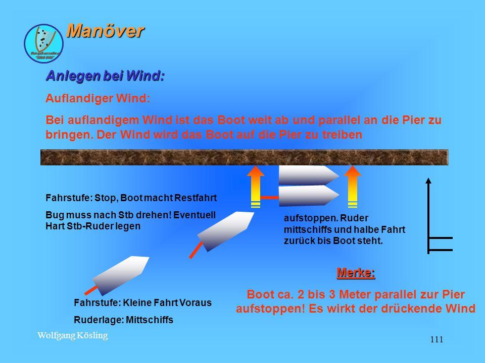 Manöver Anlegen bei Wind: Auflandiger Wind: