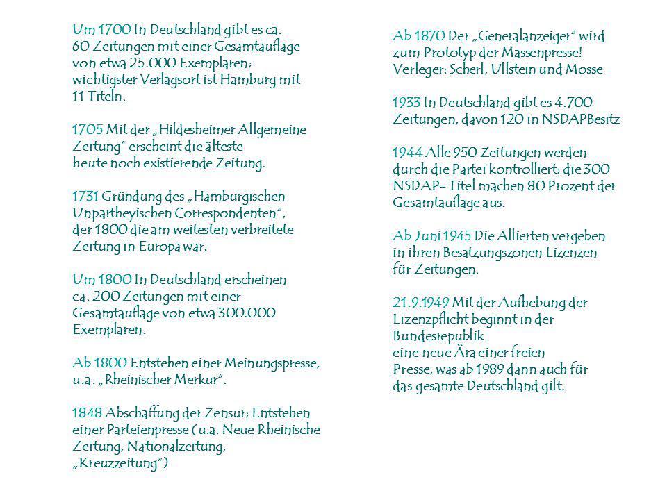 Um 1700 In Deutschland gibt es ca.