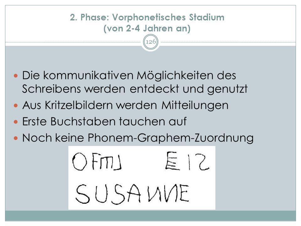 2. Phase: Vorphonetisches Stadium (von 2-4 Jahren an)