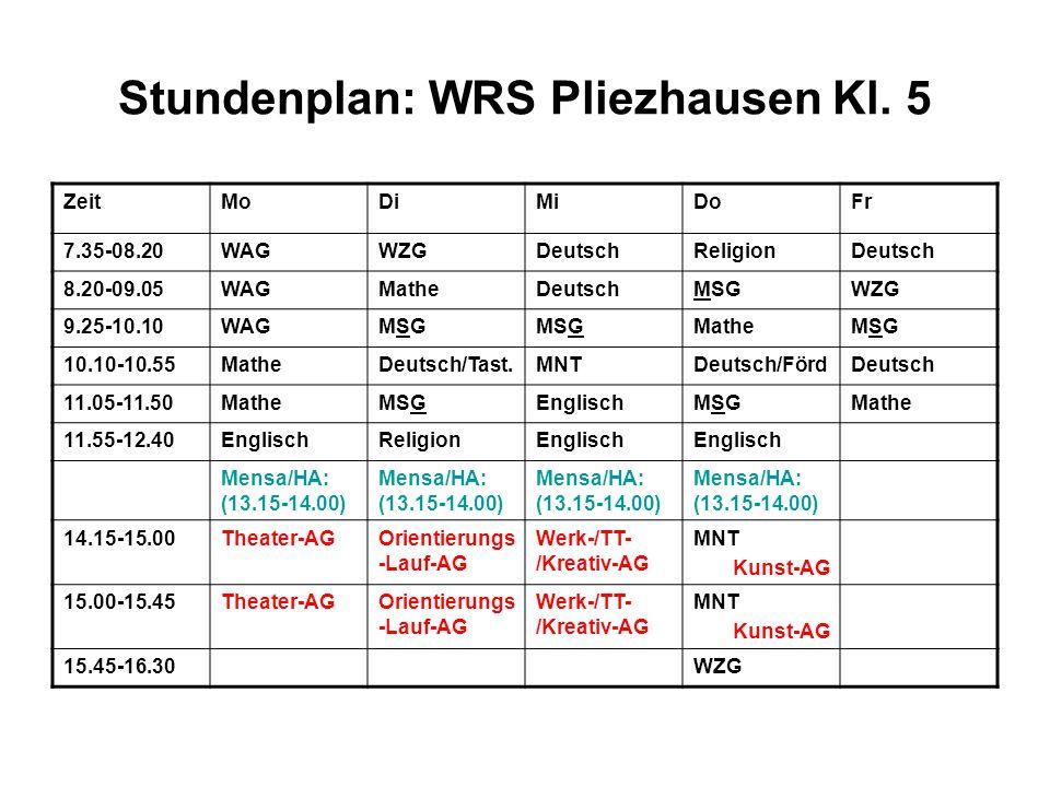 Stundenplan: WRS Pliezhausen Kl. 5