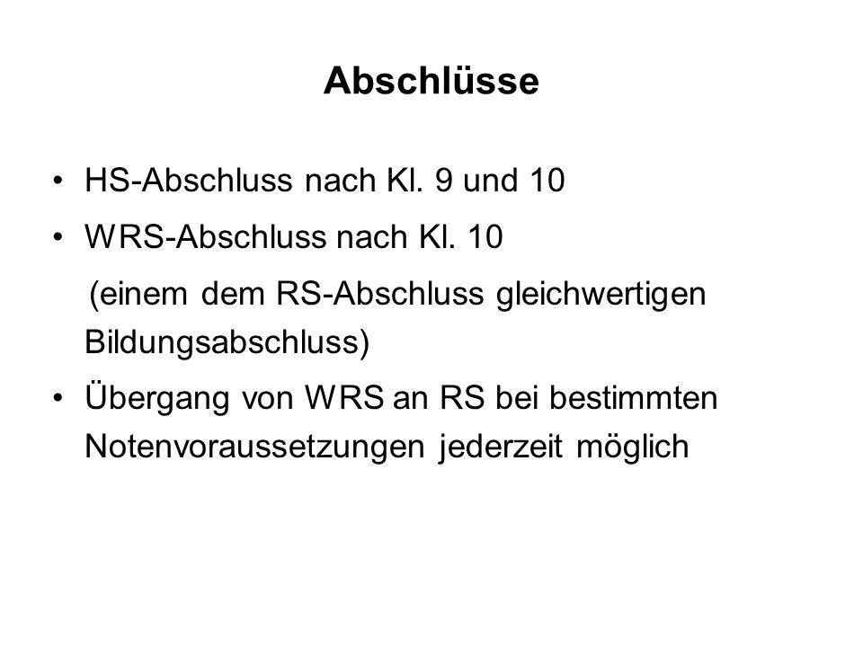 Abschlüsse HS-Abschluss nach Kl. 9 und 10 WRS-Abschluss nach Kl. 10