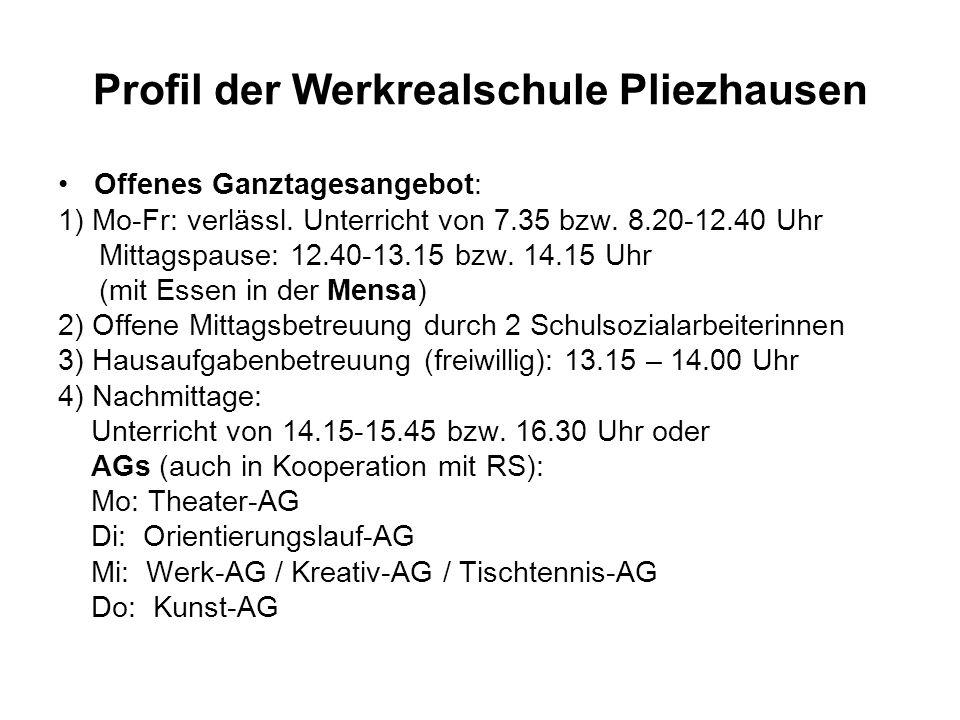 Profil der Werkrealschule Pliezhausen