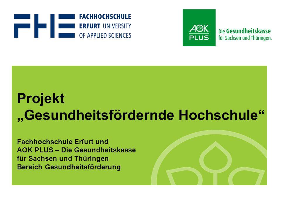 """Projekt """"Gesundheitsfördernde Hochschule Fachhochschule Erfurt und AOK PLUS – Die Gesundheitskasse für Sachsen und Thüringen Bereich Gesundheitsförderung"""