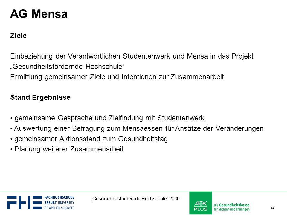 """AG Mensa Ziele. Einbeziehung der Verantwortlichen Studentenwerk und Mensa in das Projekt """"Gesundheitsfördernde Hochschule"""