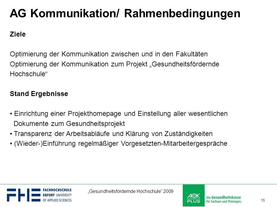 AG Kommunikation/ Rahmenbedingungen
