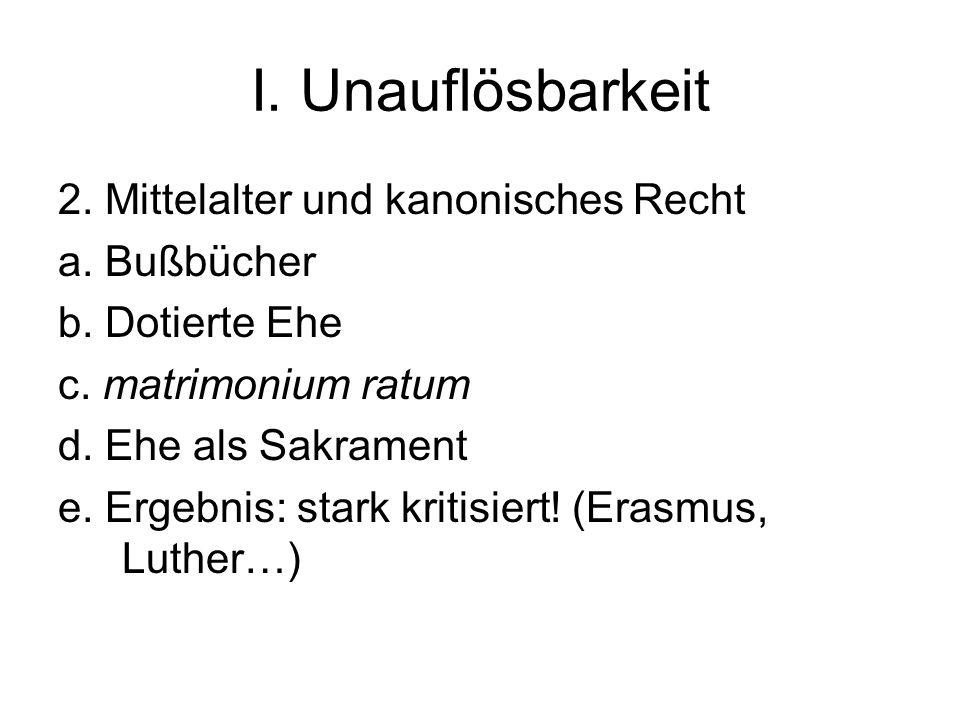 I. Unauflösbarkeit 2. Mittelalter und kanonisches Recht a. Bußbücher