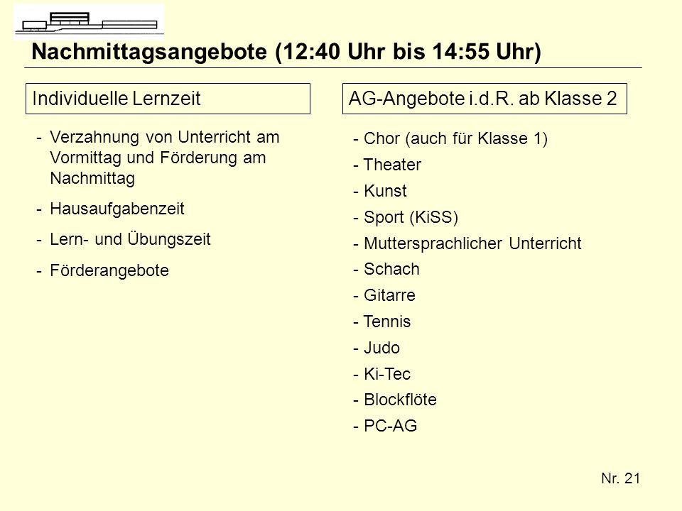 Nachmittagsangebote (12:40 Uhr bis 14:55 Uhr)