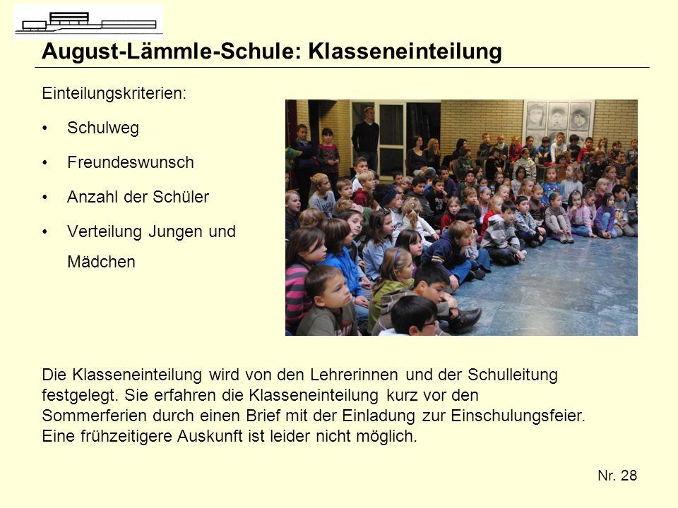 August-Lämmle-Schule: Klasseneinteilung
