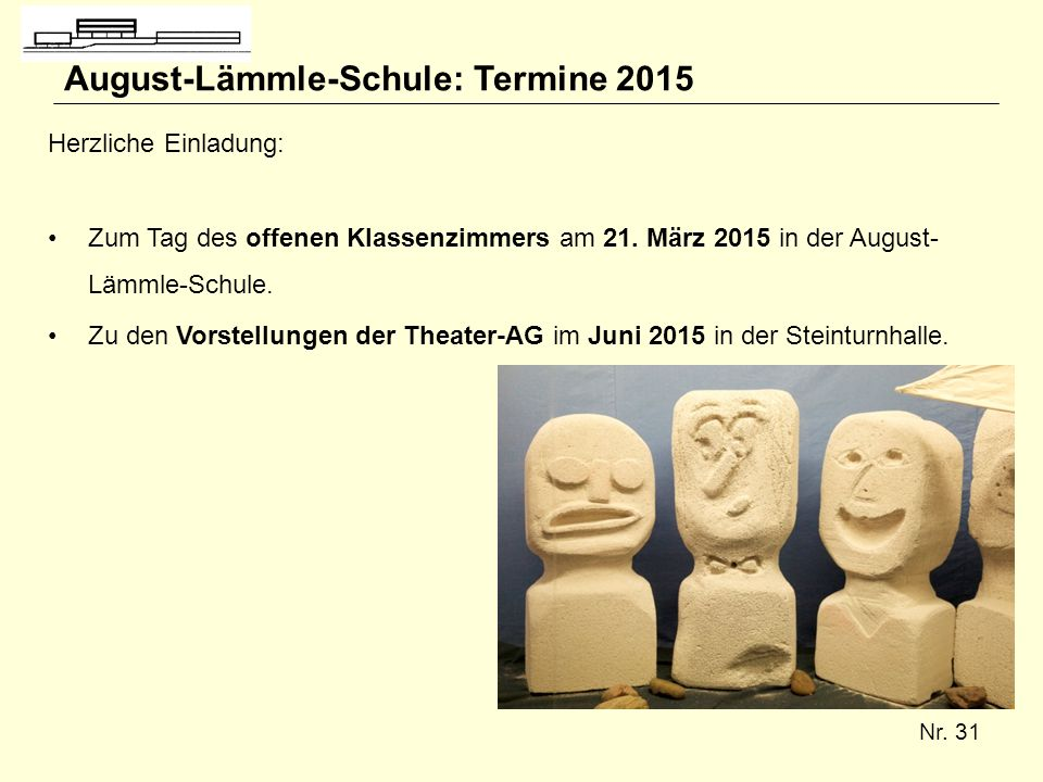 August-Lämmle-Schule: Termine 2015