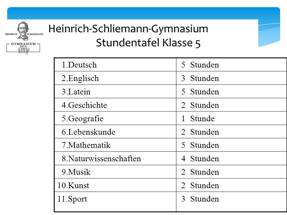 Heinrich-Schliemann-Gymnasium Stundentafel Klasse 5