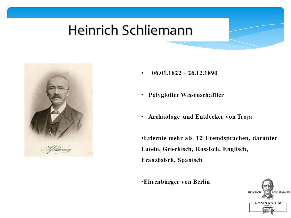 Heinrich Schliemann 06.01.1822 - 26.12.1890. Polyglotter Wissenschaftler. Archäologe und Entdecker von Troja.