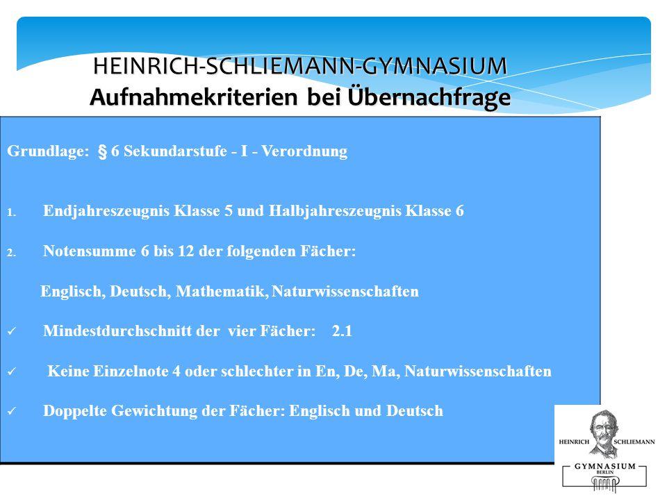 HEINRICH-SCHLIEMANN-GYMNASIUM Aufnahmekriterien bei Übernachfrage