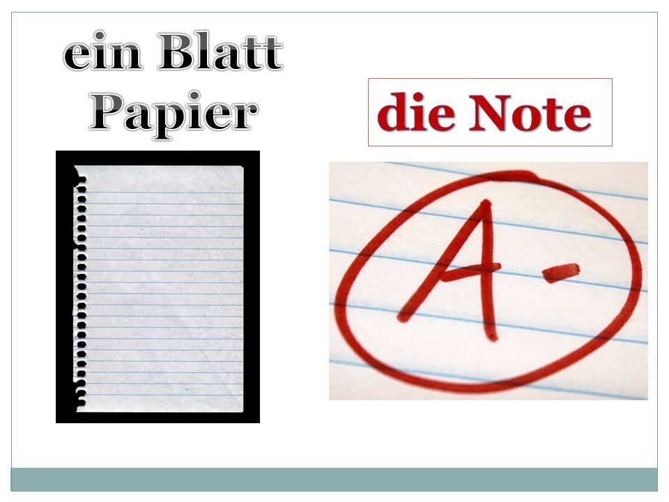 ein Blatt Papier die Note