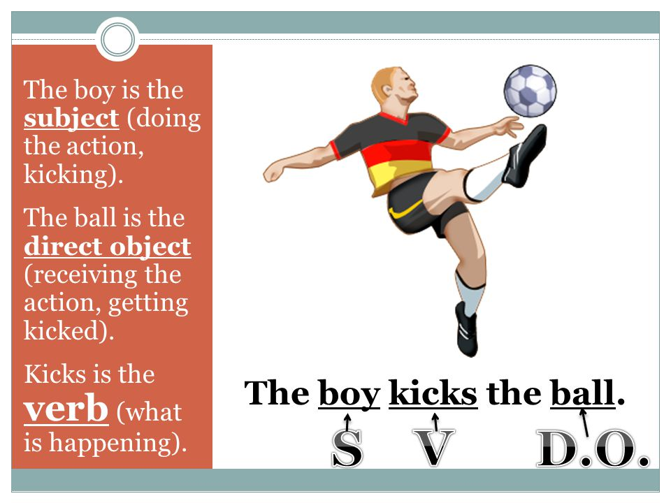 S V D.O. The boy kicks the ball.