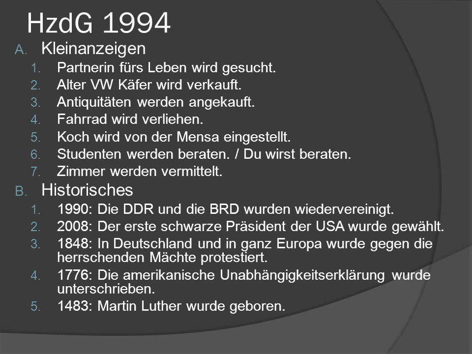 HzdG 1994 Kleinanzeigen Historisches