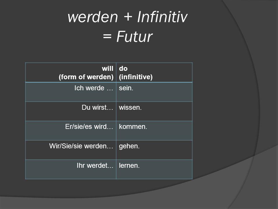 werden + Infinitiv = Futur