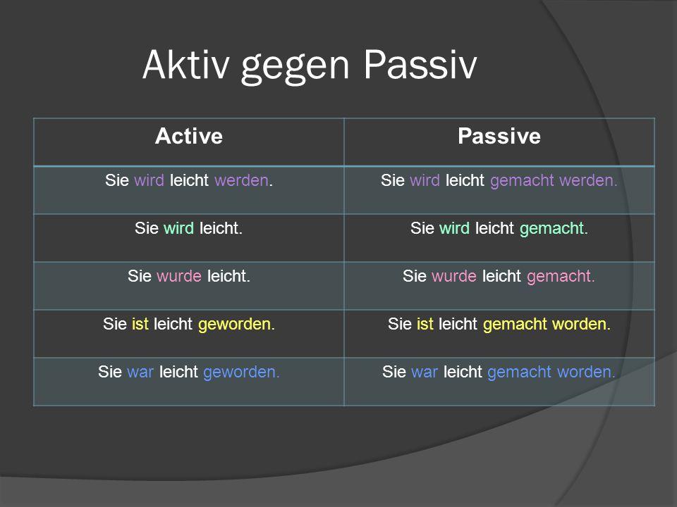 Aktiv gegen Passiv Active Passive Sie wird leicht werden.