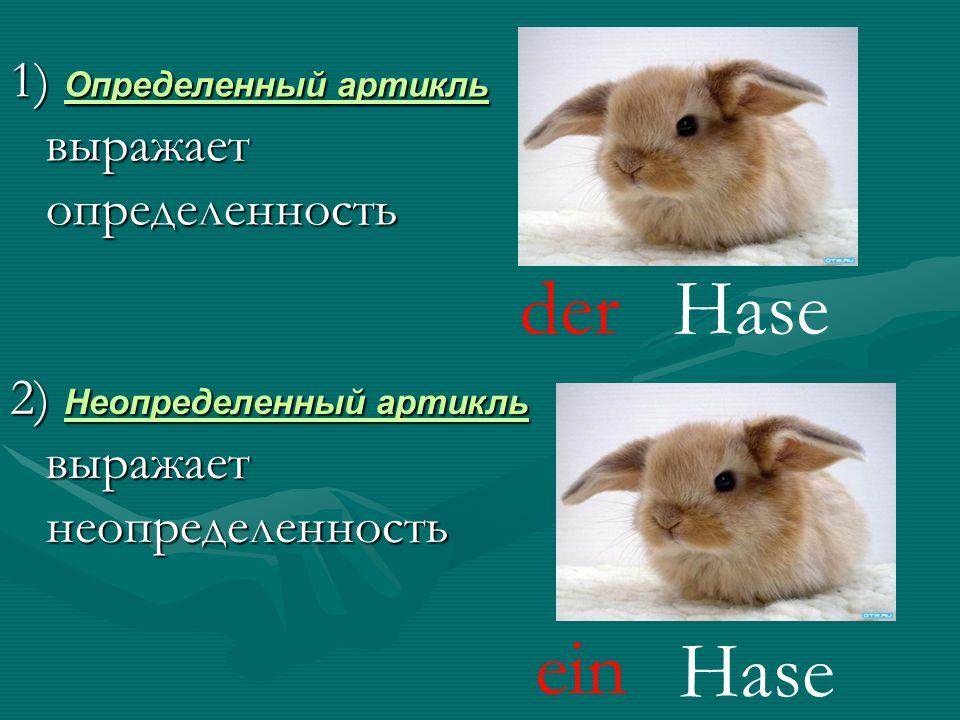 der ein Hase Hase 1) Определенный артикль выражает определенность