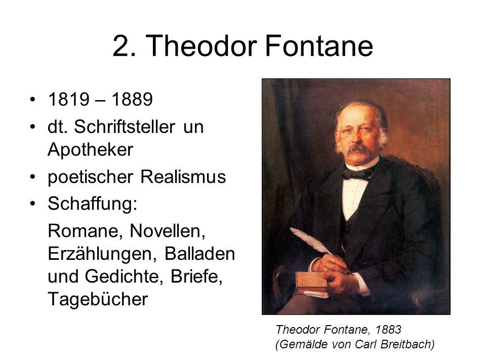 2. Theodor Fontane 1819 – 1889 dt. Schriftsteller un Apotheker