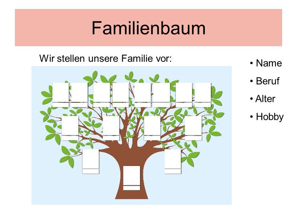 Familienbaum Wir stellen unsere Familie vor: Name Beruf Alter Hobby