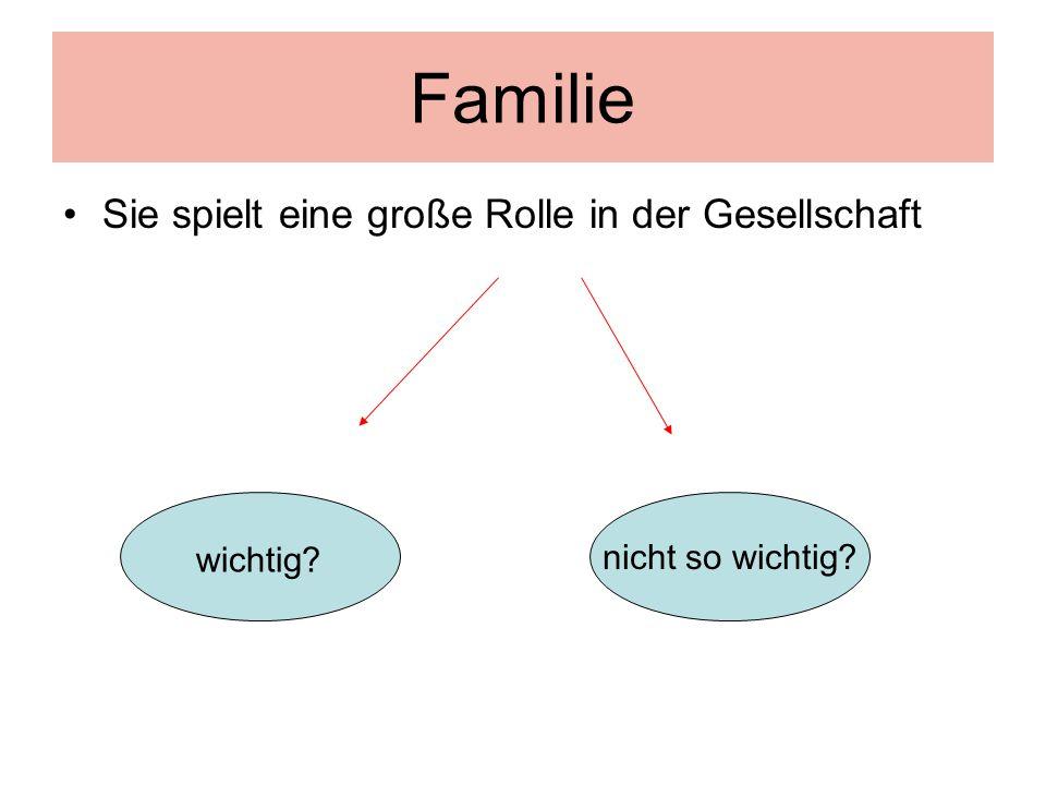 Familie Sie spielt eine große Rolle in der Gesellschaft
