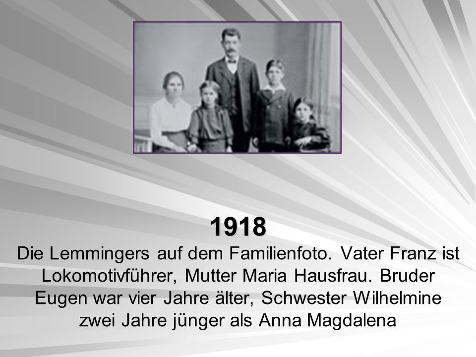 1918 Die Lemmingers auf dem Familienfoto